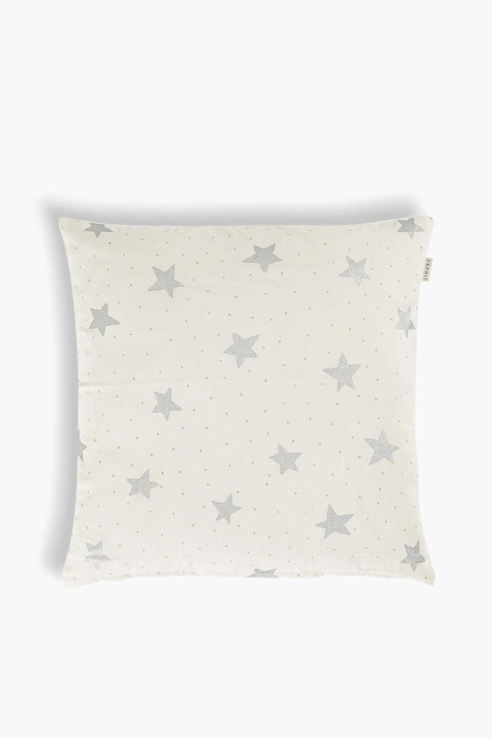 Winter wonderland! Metallic stars and fine polka dots make this cushion cover truly atmospheric and eye-catching