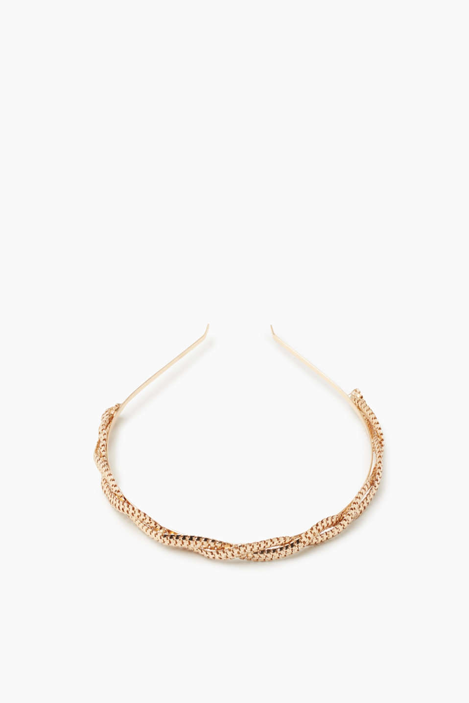 In a mood for glamour! This flexible hairband with a braided link chain will go perfectly with your look of the day.