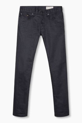 Schwarze Stretch-Jeans aus Coated-Denim