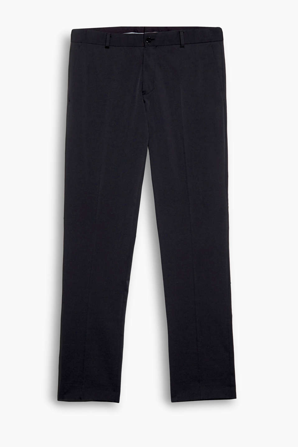 fluid and soft suit trousers with elastane for comfort and a high-tech texture