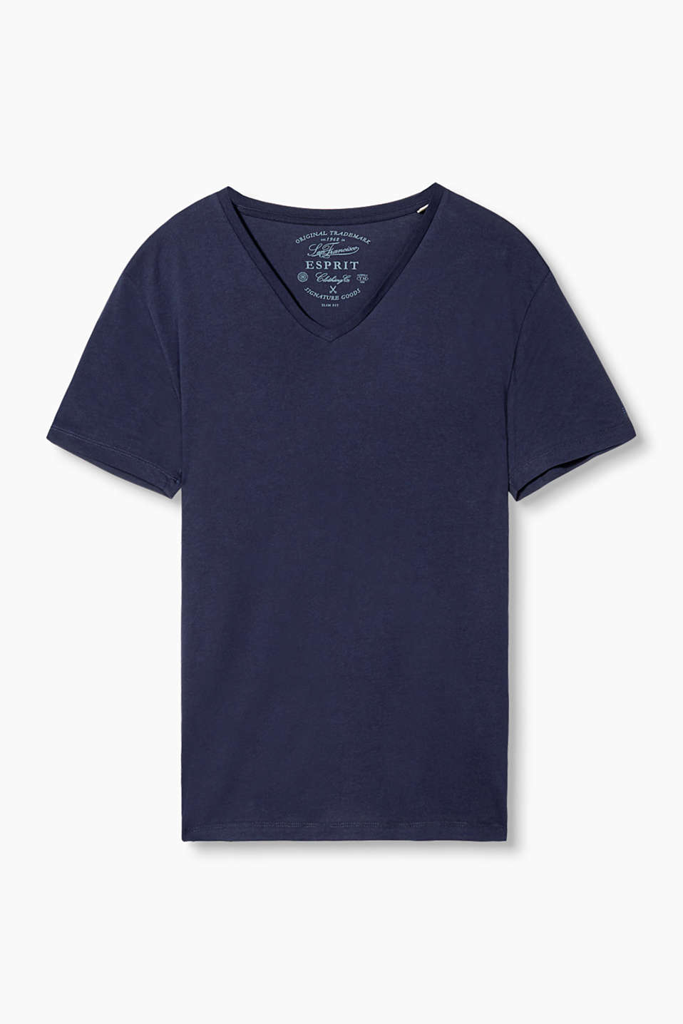 A fashion essential: Basic T-shirt with a V-neckline in pure cotton jersey