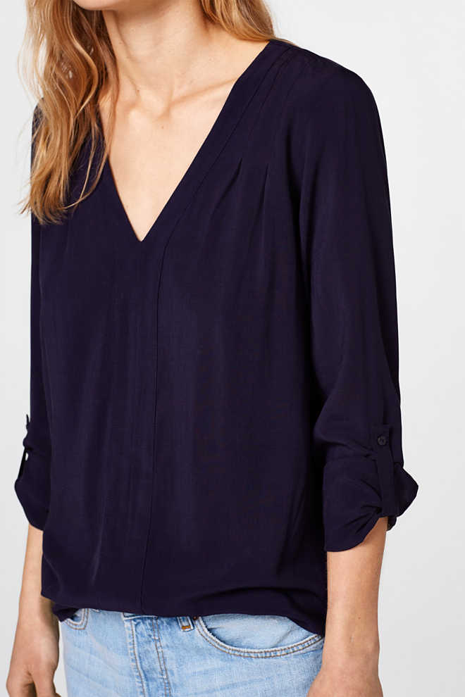 EDC / Soepele blouse met turn-up-mouwen