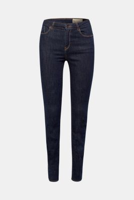 High-waisted dark stretch jeans