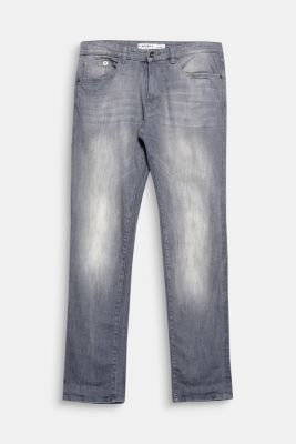 Grey five-pocket stretch denim jeans
