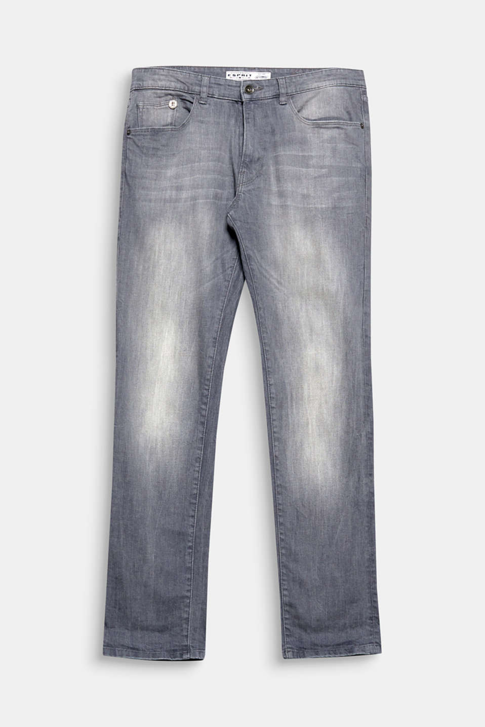 Grey stretch jeans with subtle vintage effects, a soft finish and a zip fly