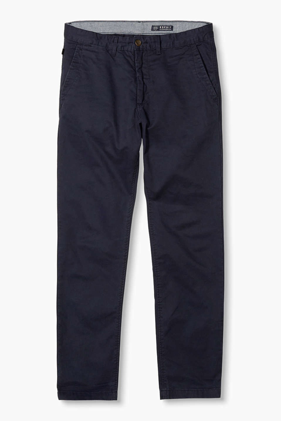 Basic-chinos i bomuldstwill med let washed out-effekt, lynlåslukning