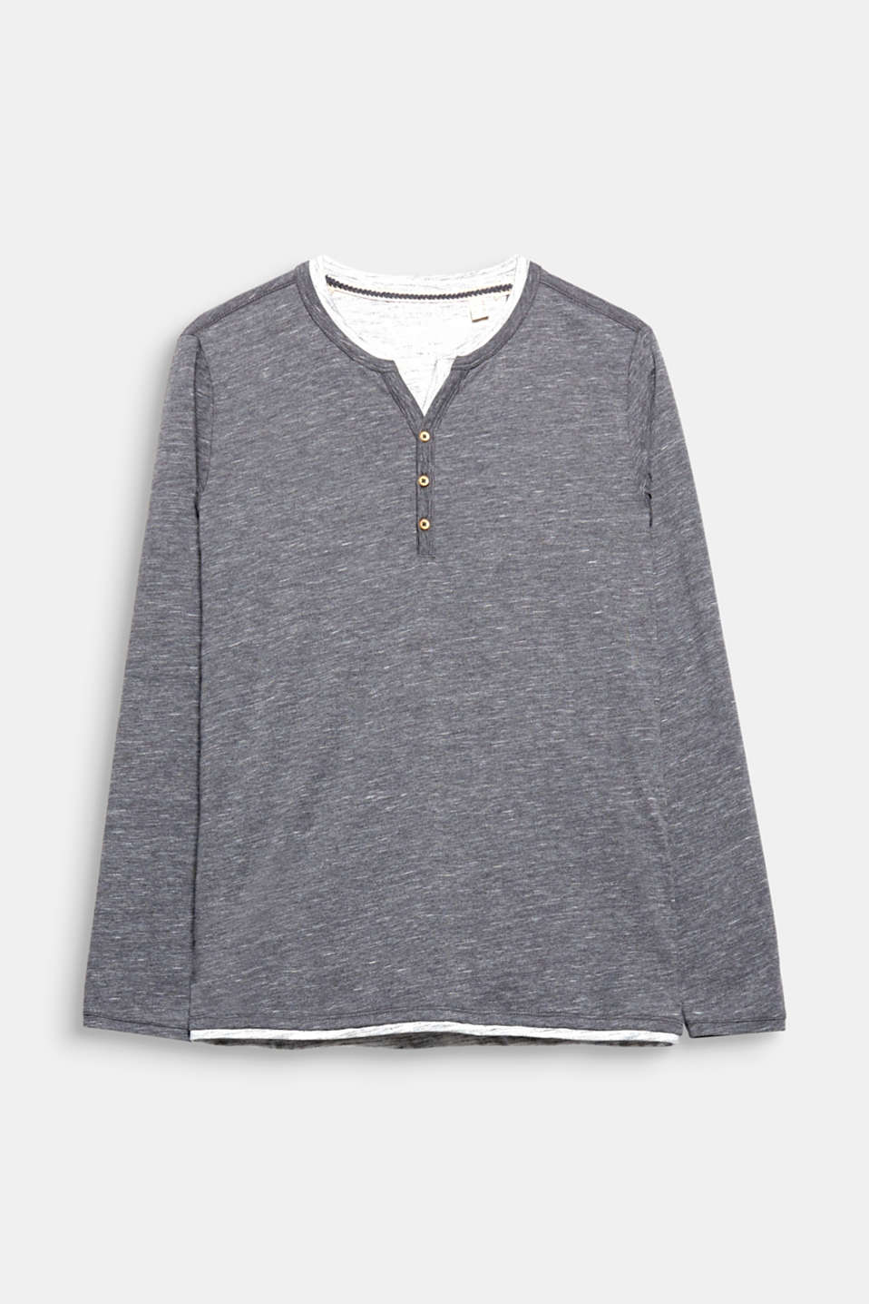 Long sleeved Henley with layer effects, made of soft slub jersey