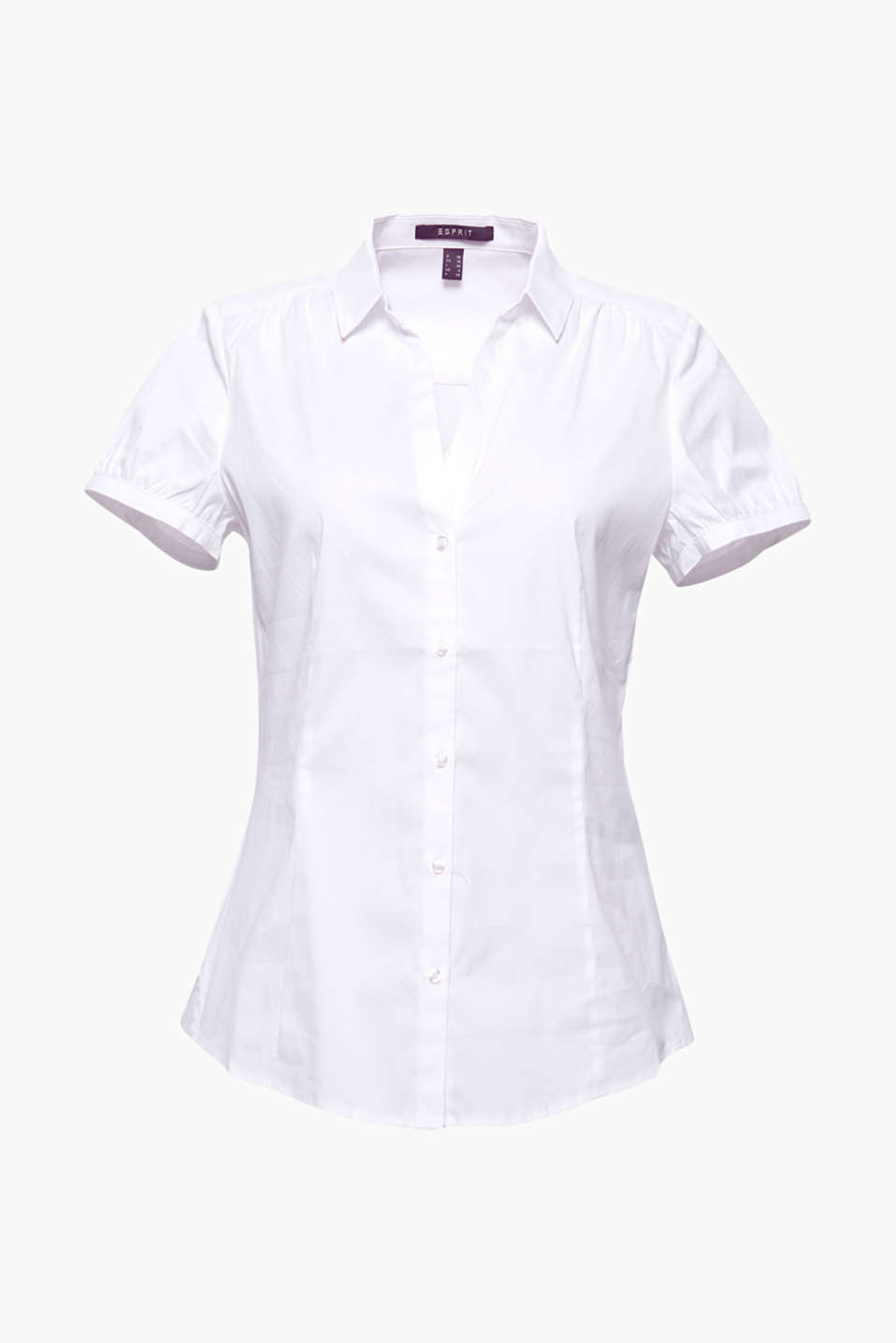 lightweight basic blouse with a collar and a V-neckline in an easy-care and durable cotton-polyamide blend