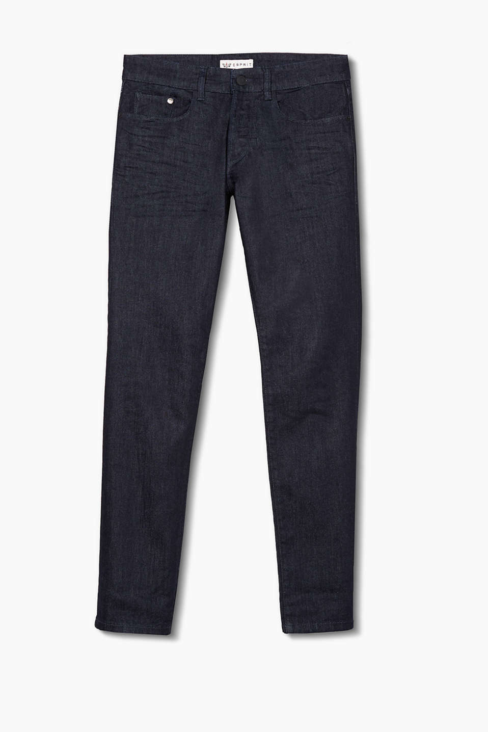 Basic five-pocket jeans in soft stretch denim, zip fly