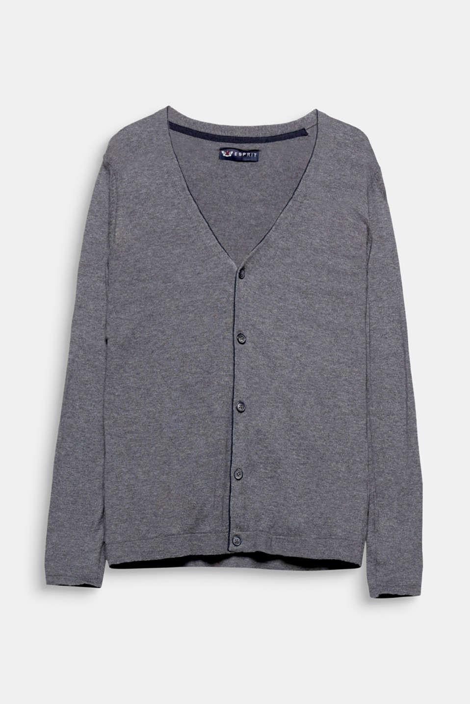 Made of Australian cotton: lightweight, premium cardigan with striped elbows and piped edges