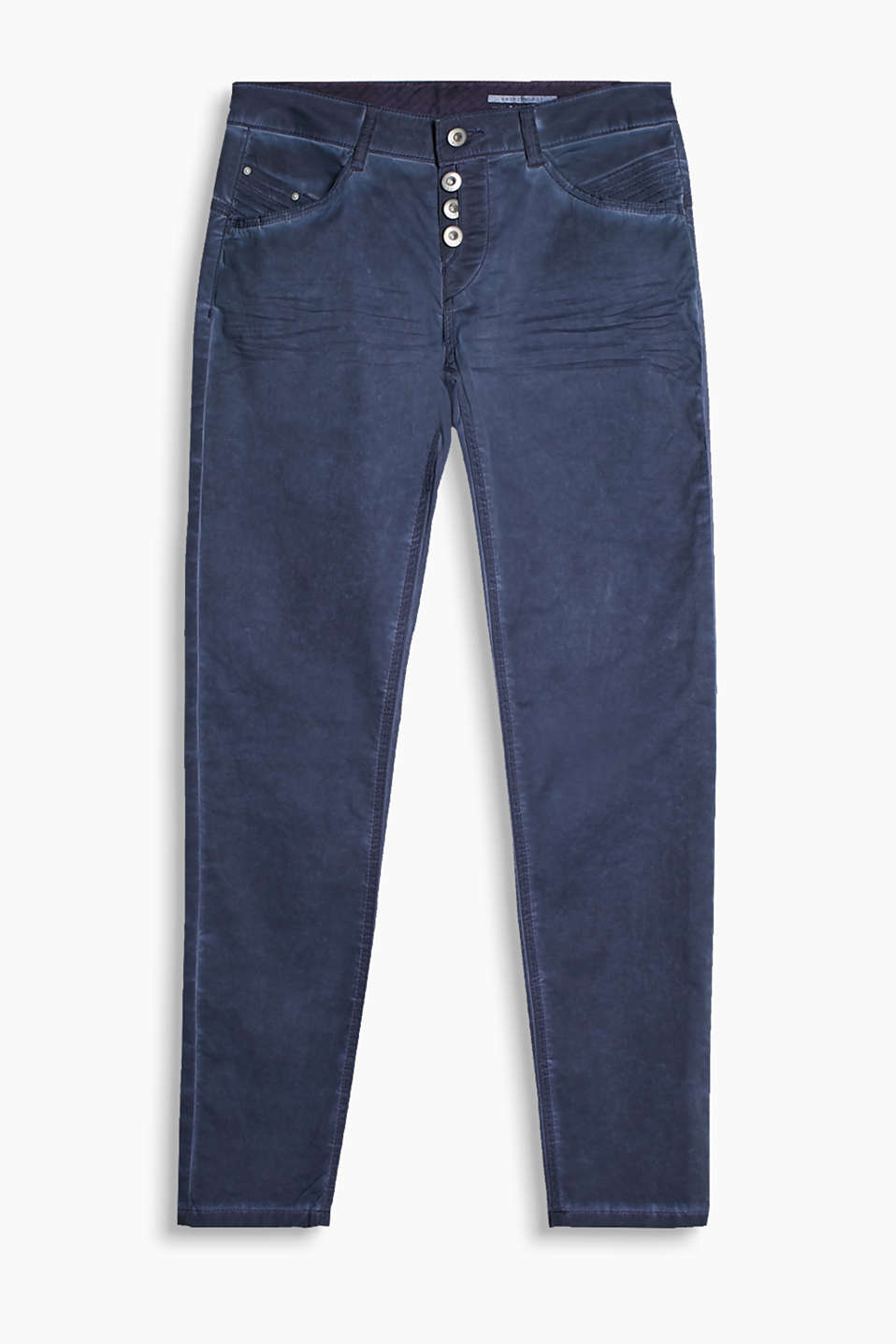 Casually styled five-pocket trousers with a visible button fly and decorative stitching