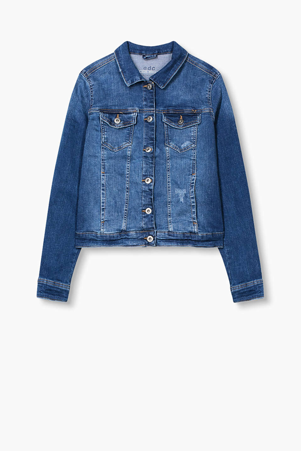 Cool classic: femininely figure-hugging jacket made of distressed stretch denim