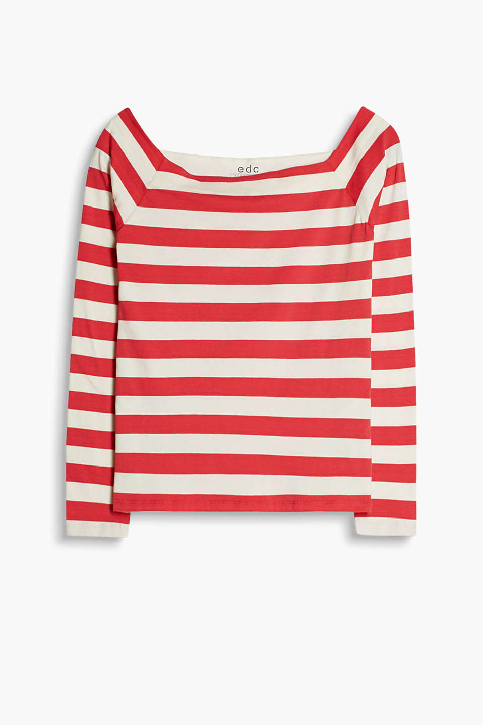 Off-the-shoulder top with nautical block stripes