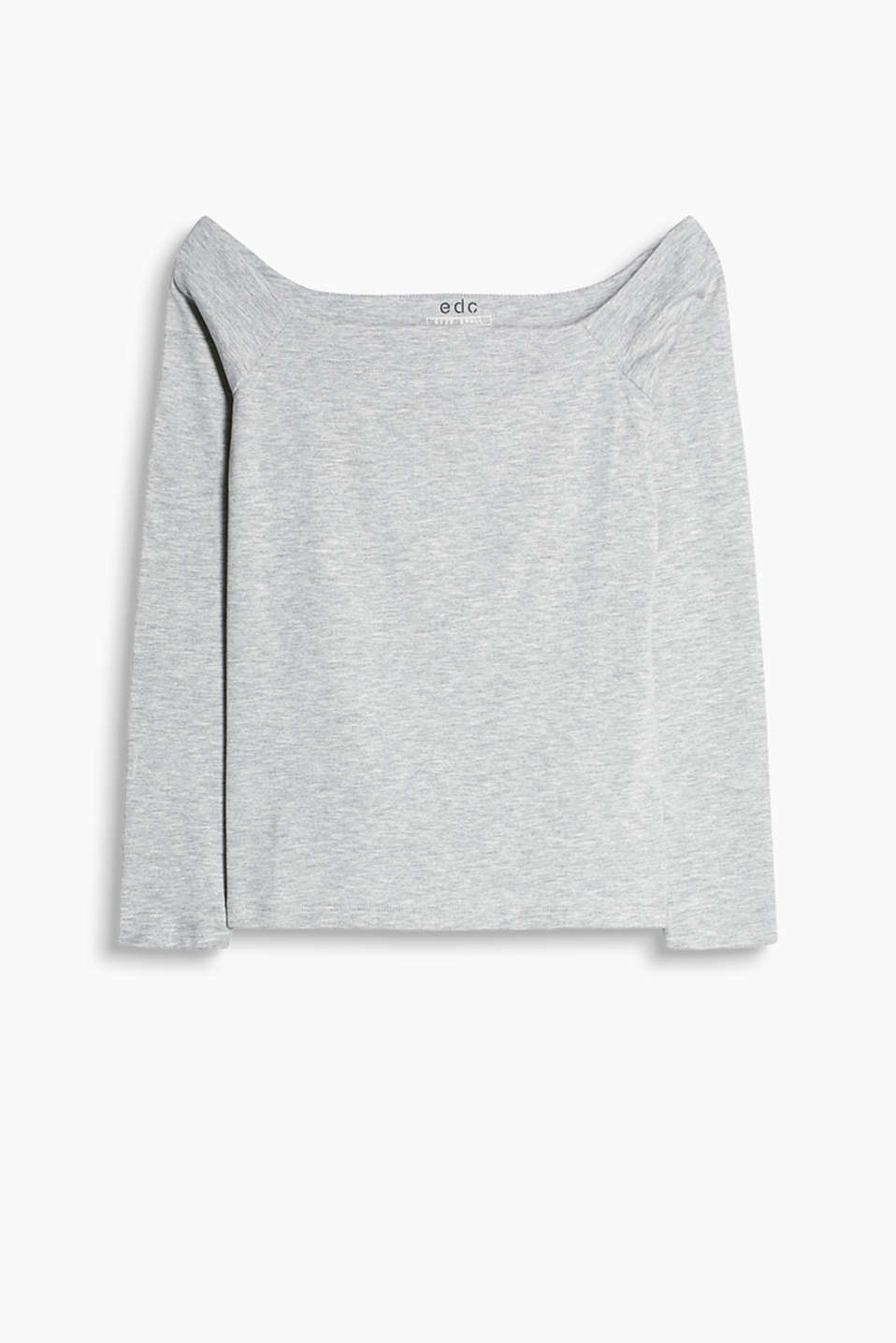 We love off-the-shoulder styles! Long sleeve top with a melange texture