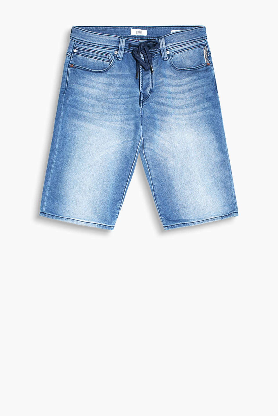 Comfy and stretchy: denim shorts with garment-washed effects