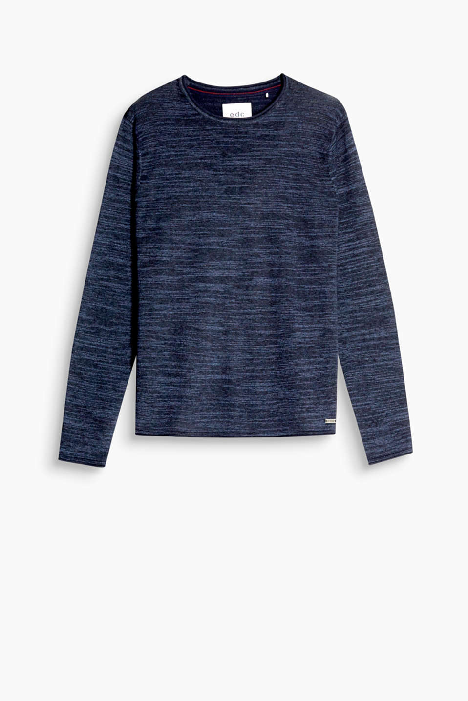 Soft cotton blend jumper with a round neckline and rolled edges