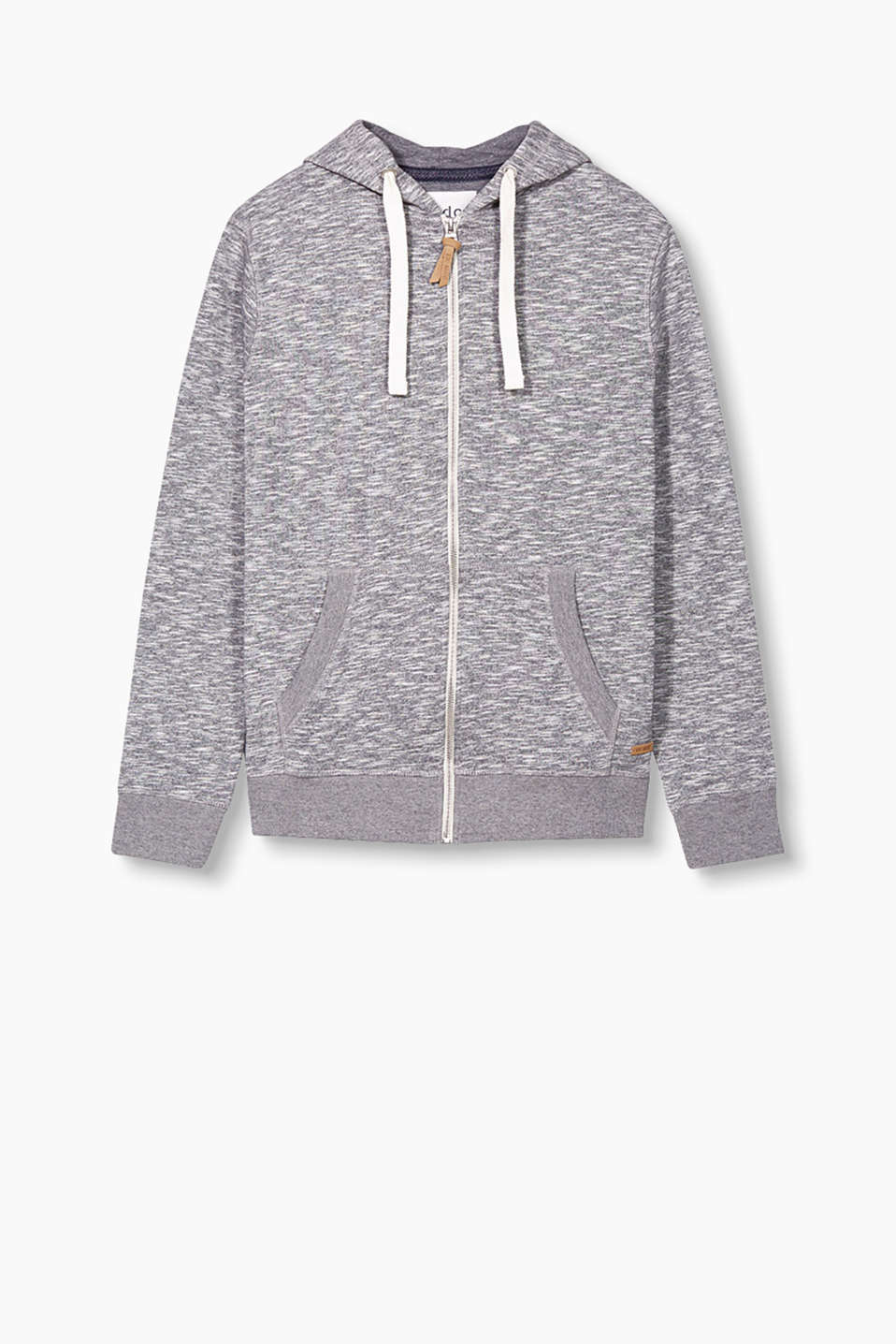Hoodie with a kangaroo pocket in pure cotton with a cool slub effect