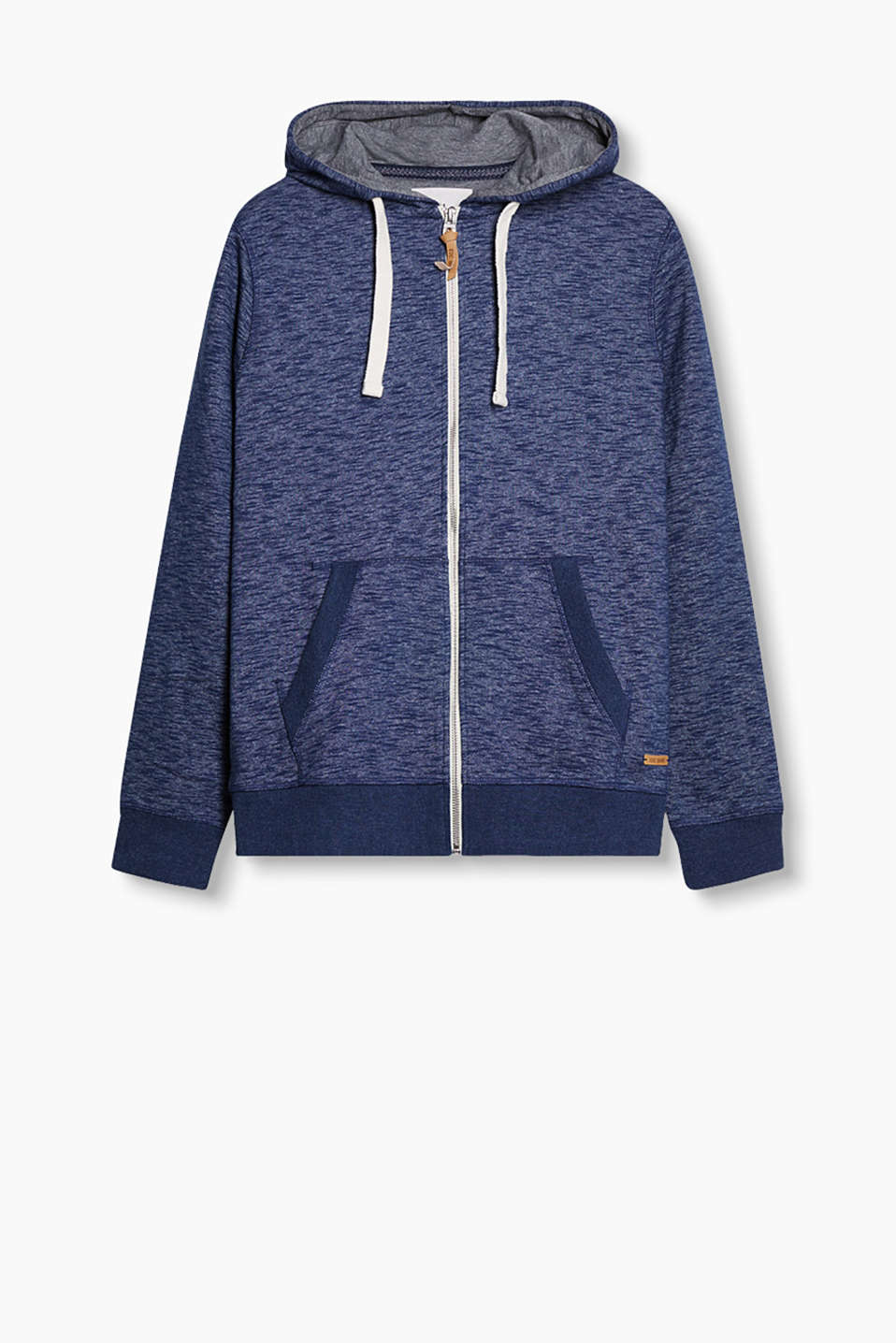 Sweatshirt jacket made of pure cotton in a stylish slub effect with a hood and kangaroo pockets