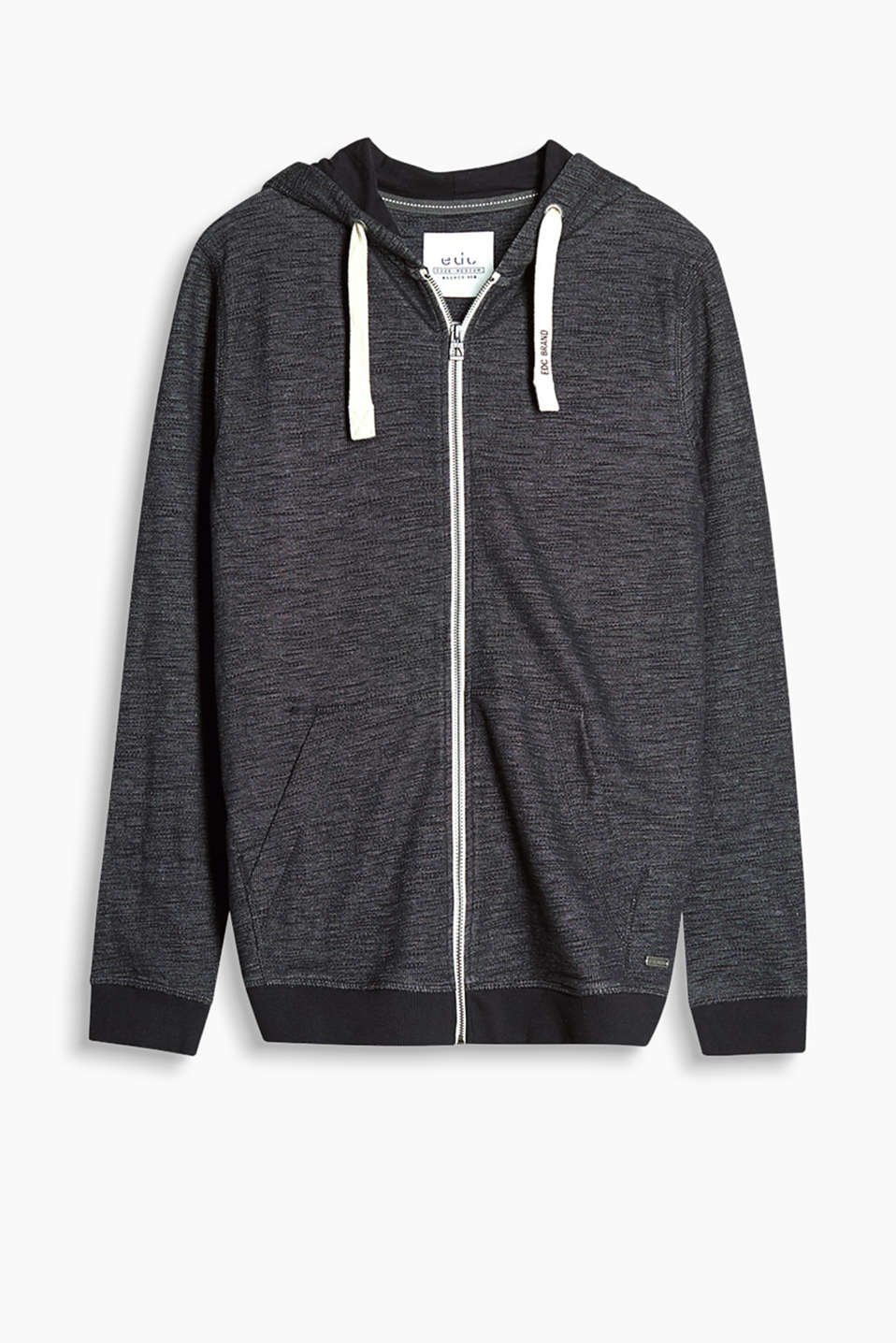 Hoodie with a colour-contrasting metal zip in soft slub jersey
