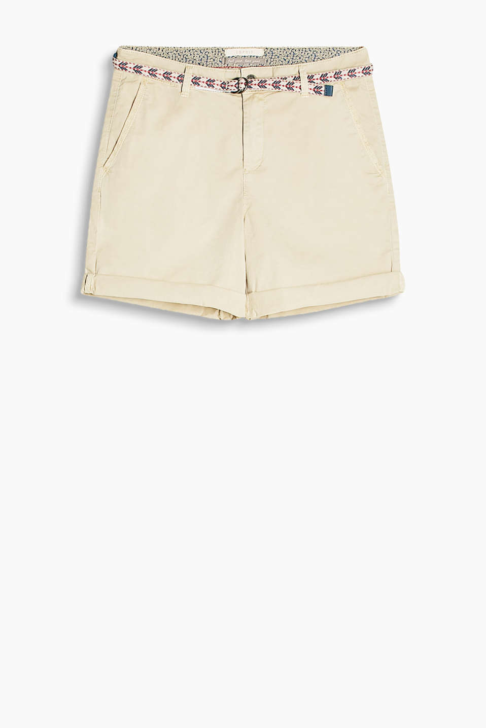 Lightweight shorts in a washed look with a colourful woven belt, cotton stretch