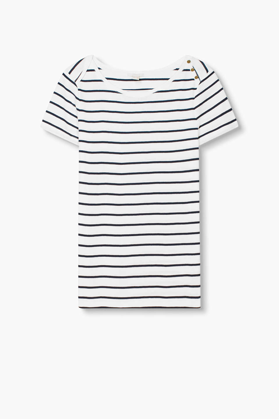T_shirt with nautical stripes, a bateau neckline and shoulder buttons, in soft cotton jersey
