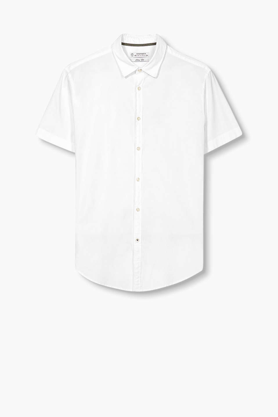 Short sleeve shirt with a Kent collar in a cool cotton blend