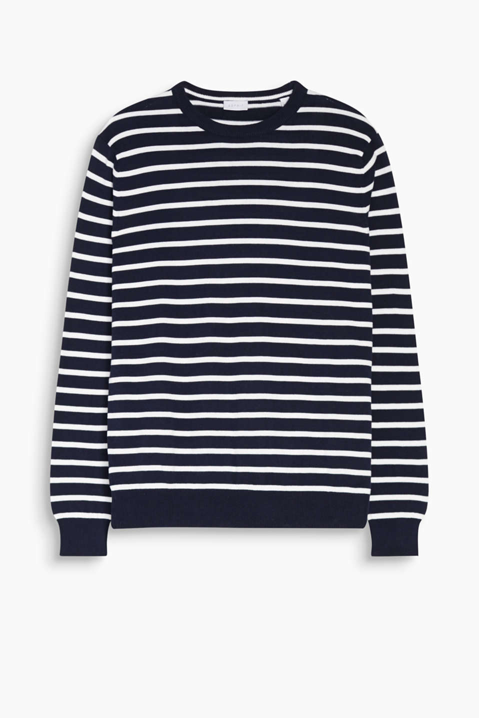 Fine knit jumper with stripes and ribbed borders on the round neckline and sleeve ends in 100% cotton