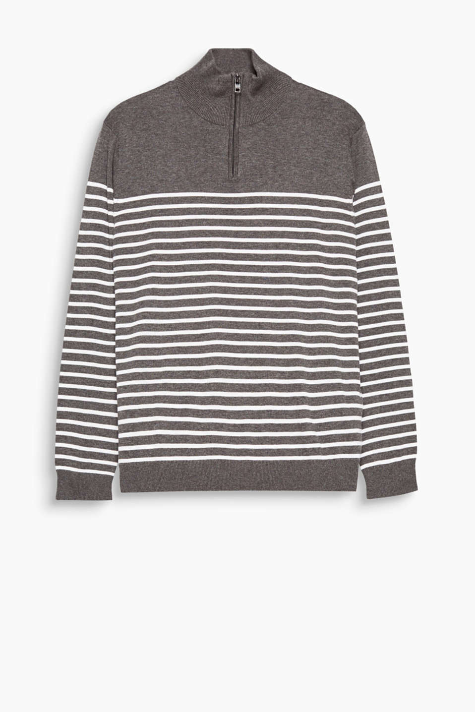 Striped jumper in 100% cotton with a high zip neck and ribbed edge