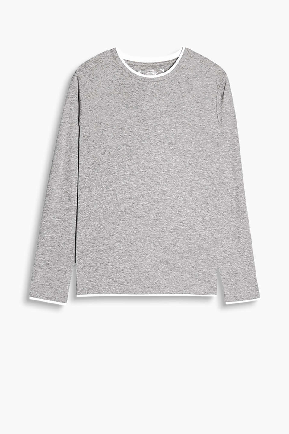 Long sleeve Henley top in soft blended cotton with a layered effect at the round neckline