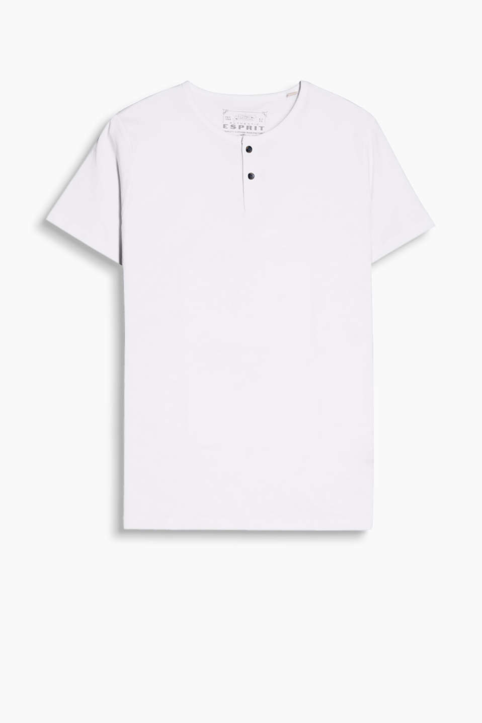 Henley-style T-shirt, made of 100% cotton