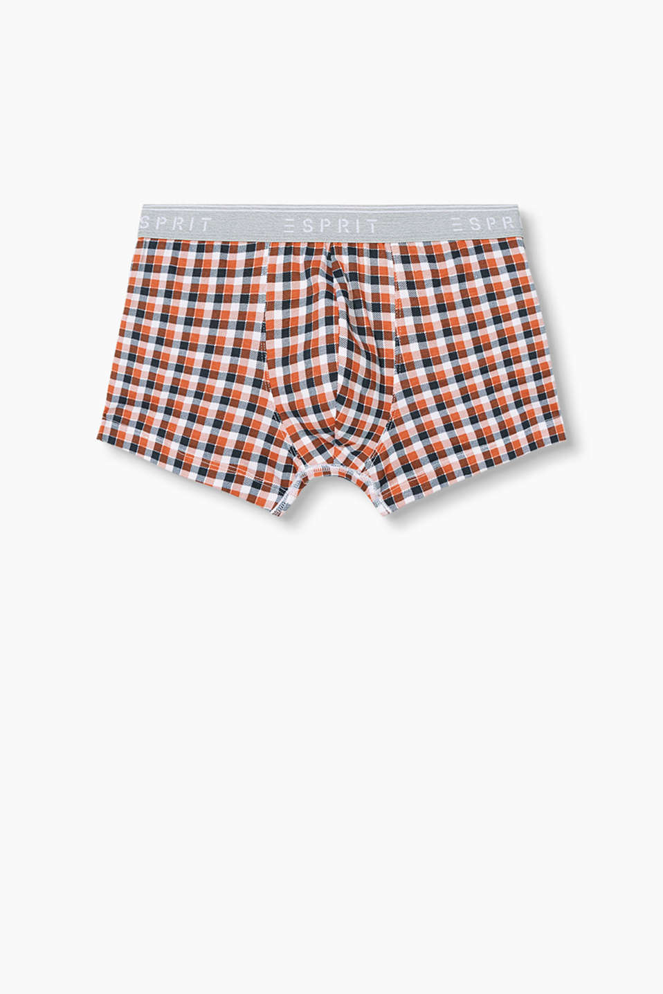 with a fashionable check pattern and attached, elasticated waistband with a logo