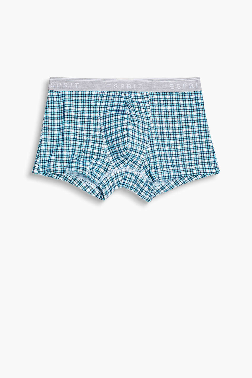 Stretch cotton hipster shorts with a check pattern and logo waistband