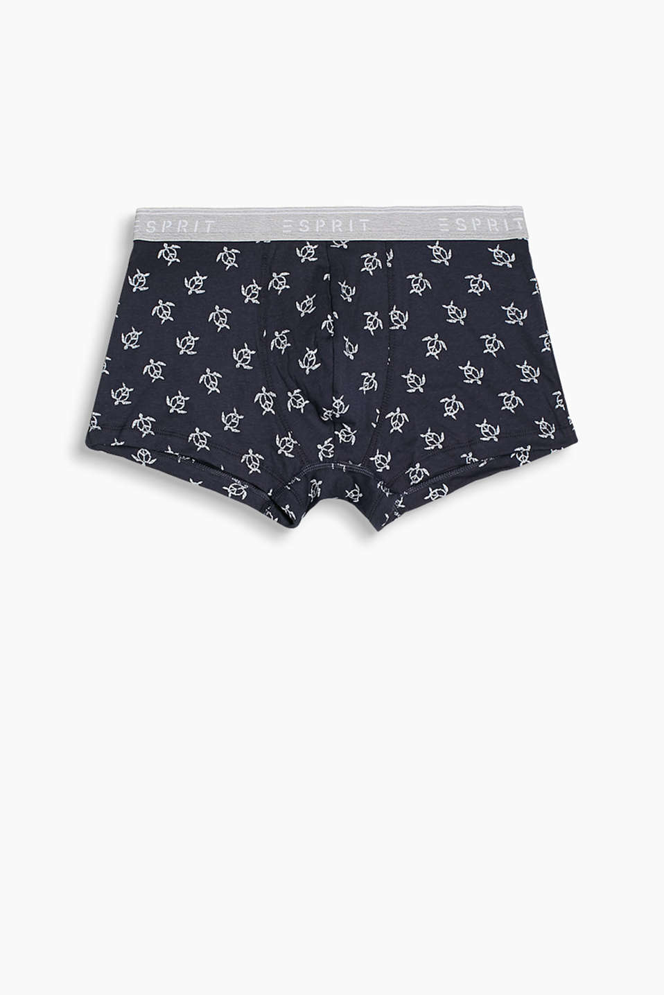Stretch cotton hipster shorts with a tortoise print and logo waistband