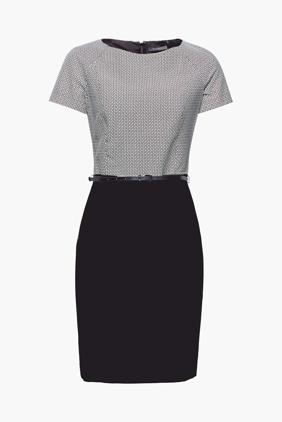 Something different for your business look: sheath dress with a decorative top and a narrow faux leather belt!