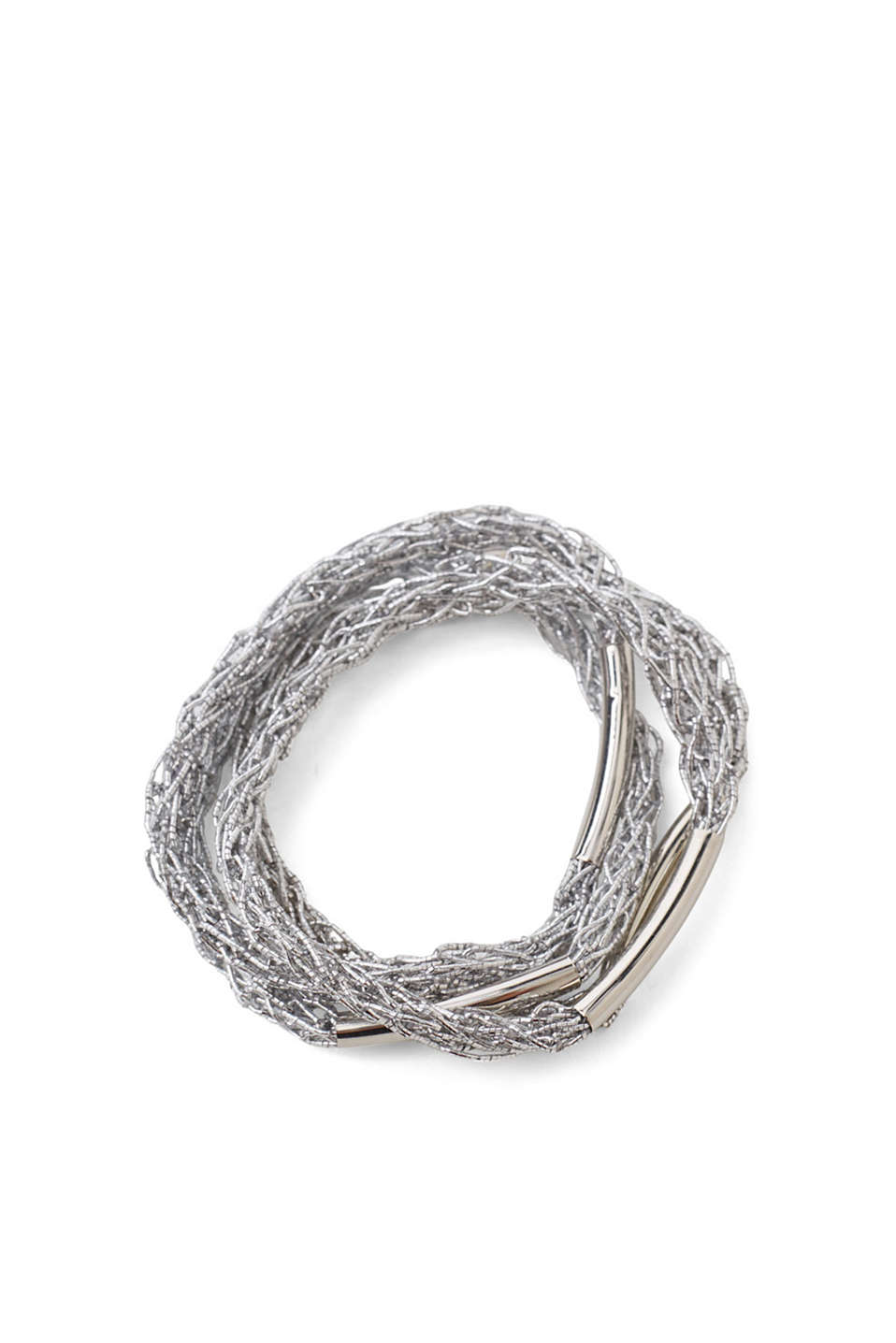 Four braided bracelets in a silver shade