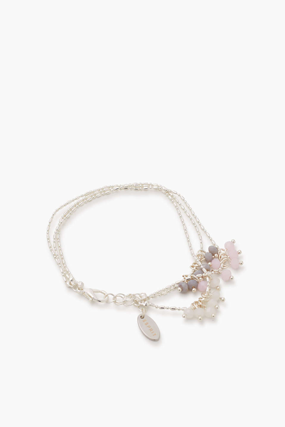 Three filigree bracelets with facet-cut beads in delicate milky shades