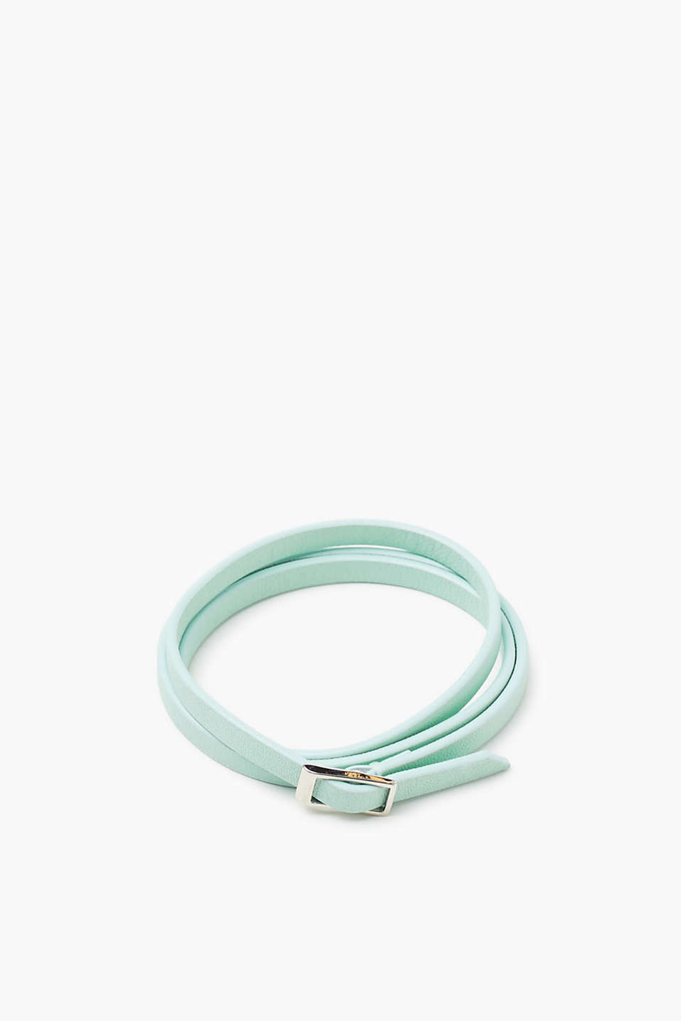 Leather bracelet with a high-shine metal buckle