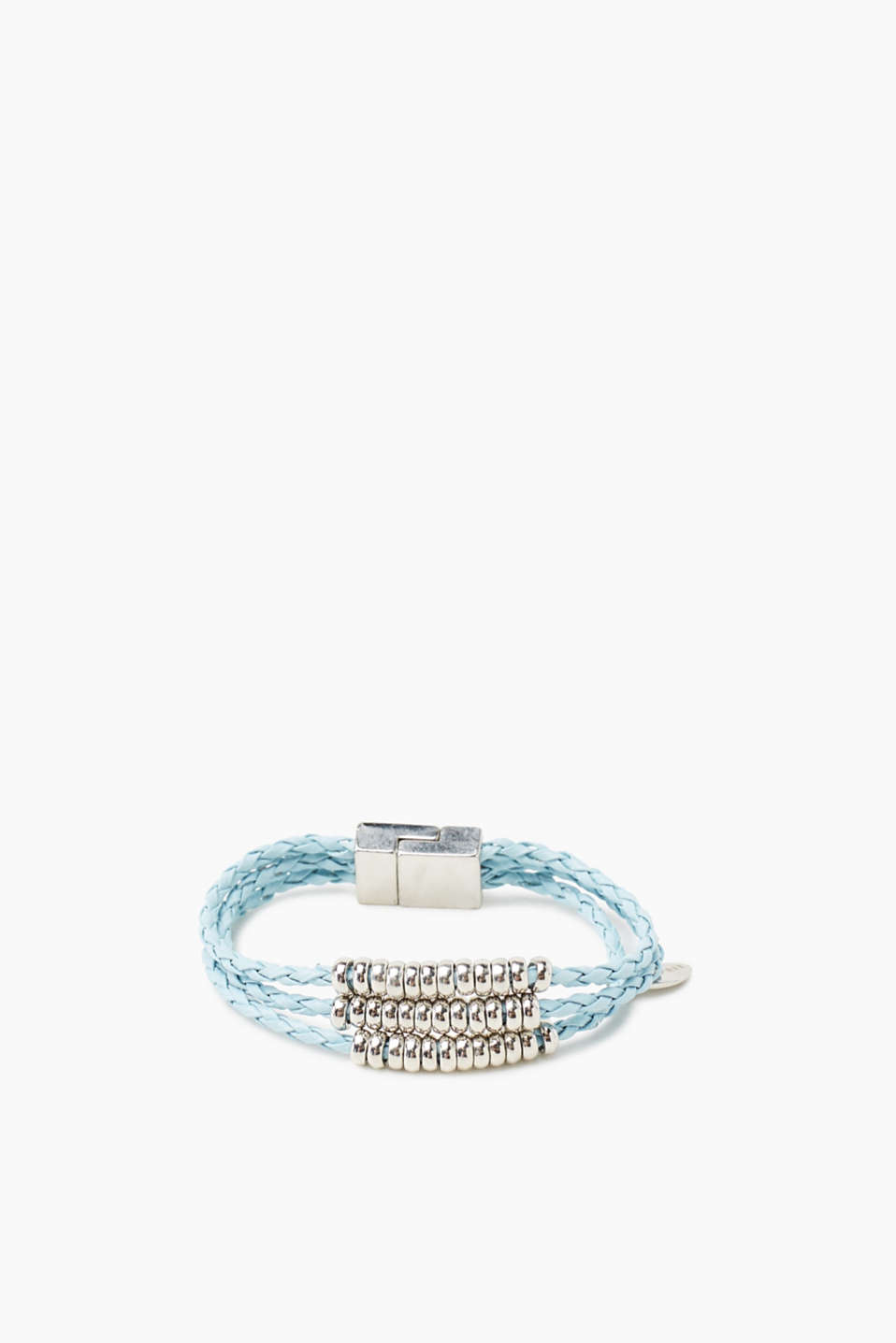 Three-strand braided bracelet with a magnetic clasp