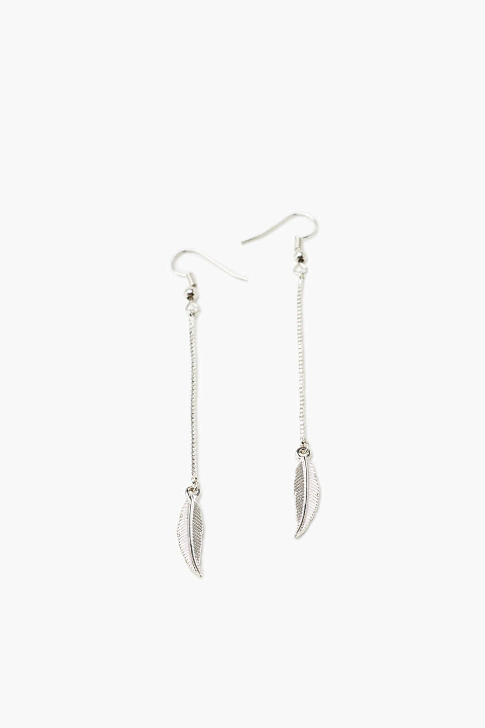 Earrings with a chain and feather pendant, made of metal with fish hooks