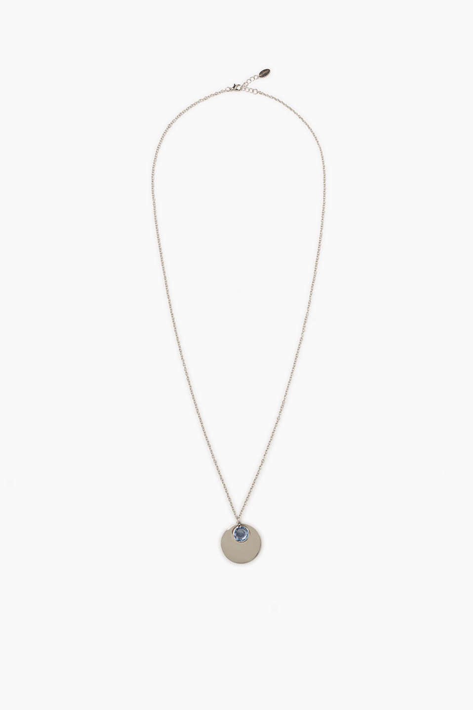Long necklace with a round tag and a blue facet-cut stone
