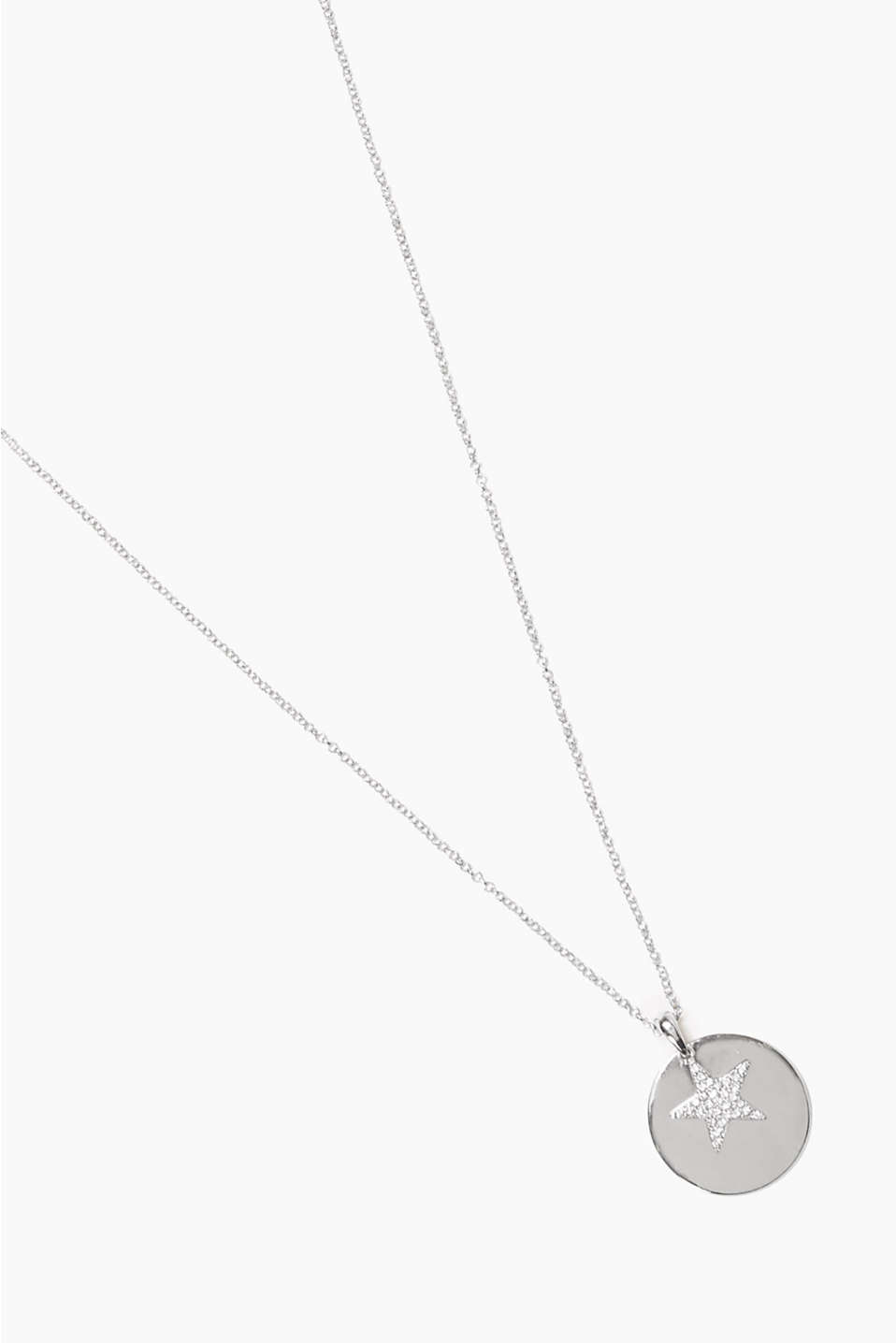 Long necklace with sparkling star and round disc