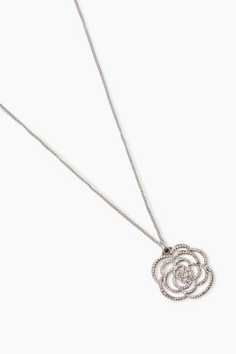 Long necklace with a shiny flower