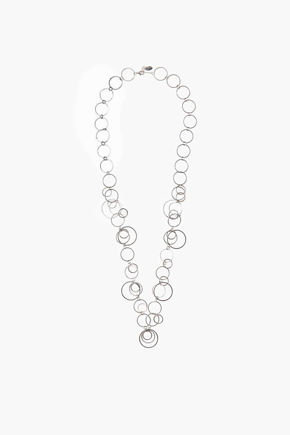 Long necklace with intertwined rings in an elegant silver tone