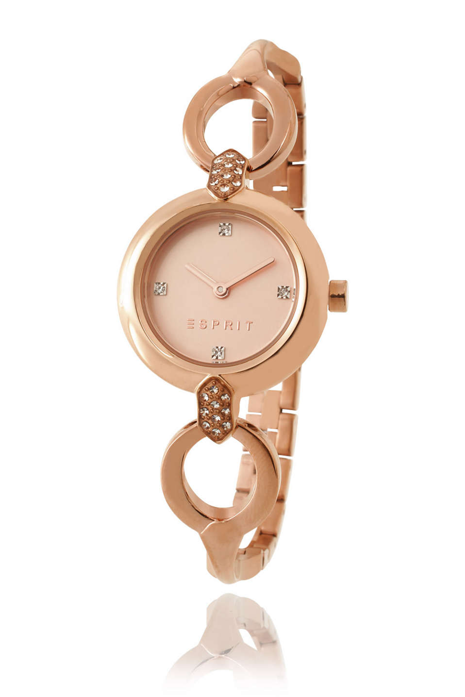 Rose gold coloured, stainless-steel watch with an elegant metal strap and rhinestones, Ø approx. 26 mm