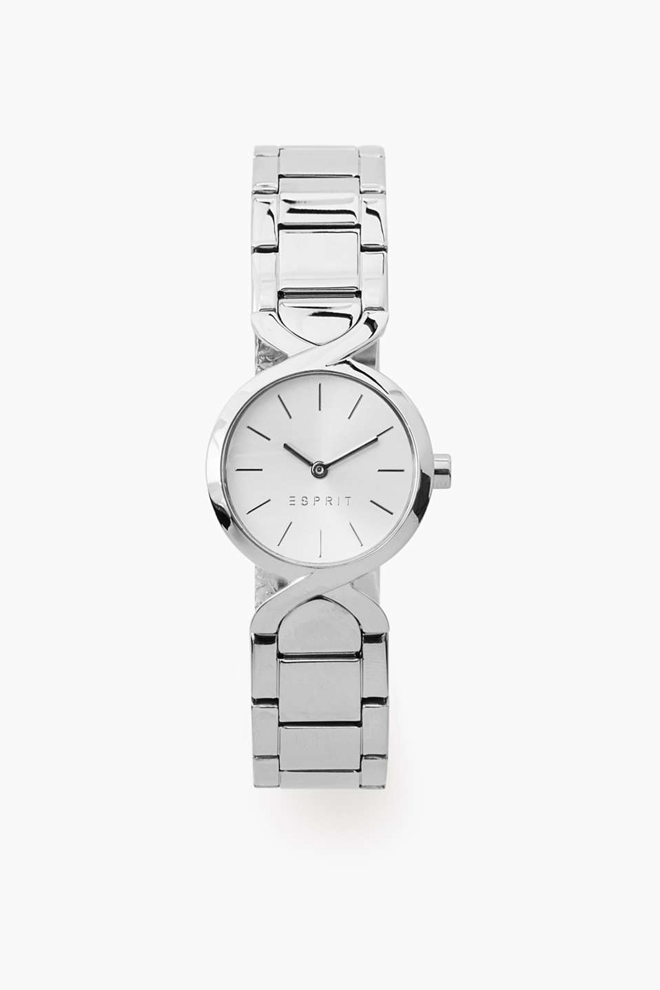 In a curved X design: watch with stainless steel casing, curved mountings and a link strap, Ø approx. 26 mm