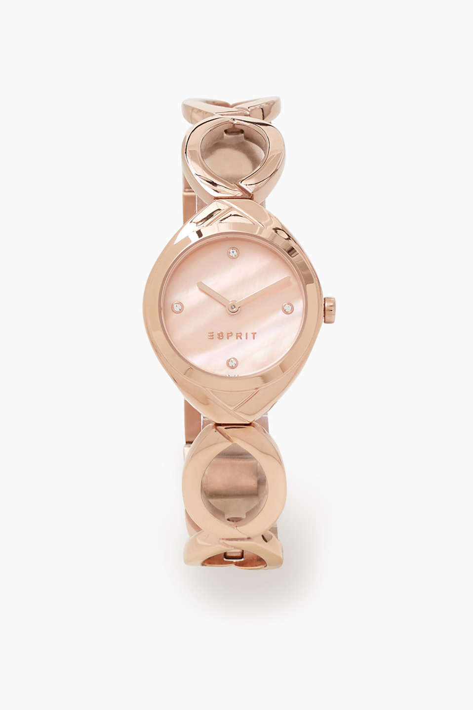 Watch with a dial in a mother-of-pearl look and zirconia, with a distinctive eyelet strap