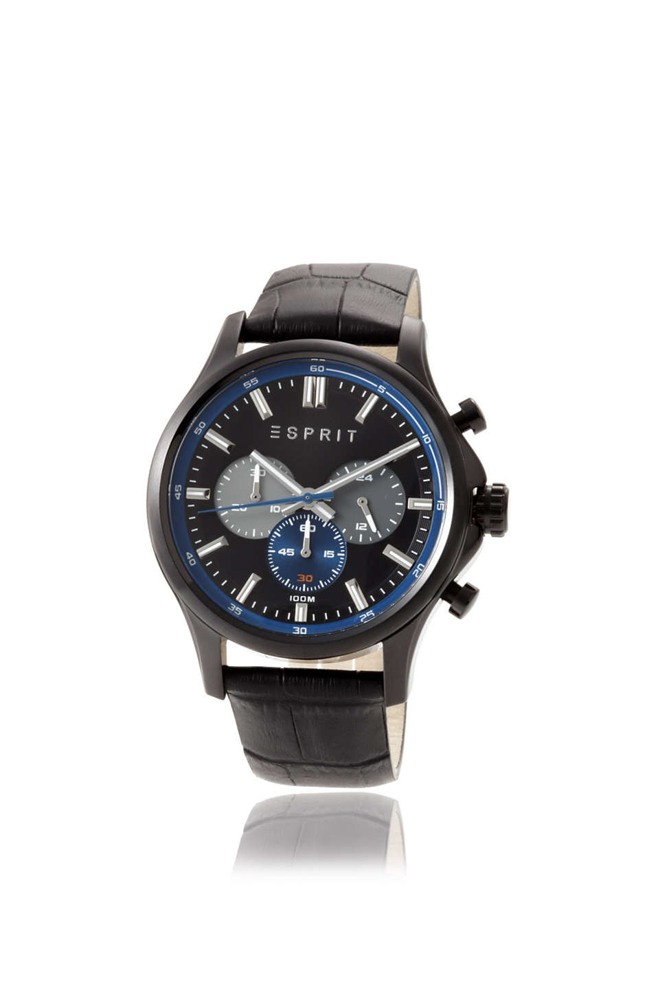 Mathias Night, black stainless steel casing, leather strap, stop watch function, 24-hour hand, Ø approx. 45 mm