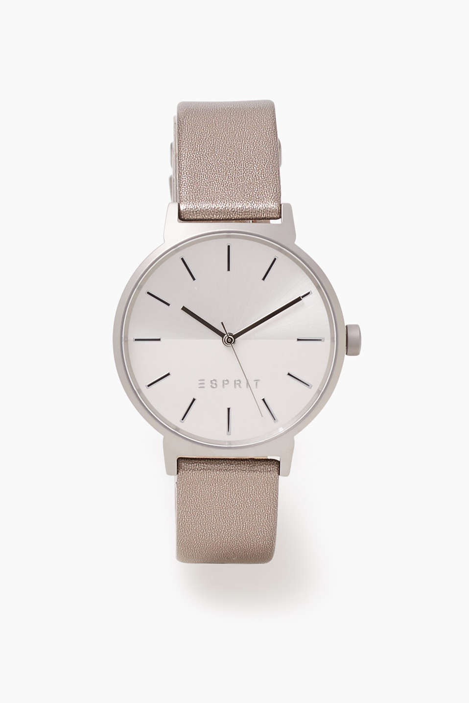 Watch with a matte-reflective dial and a wrist strap in fine calfskin with a metallic finish