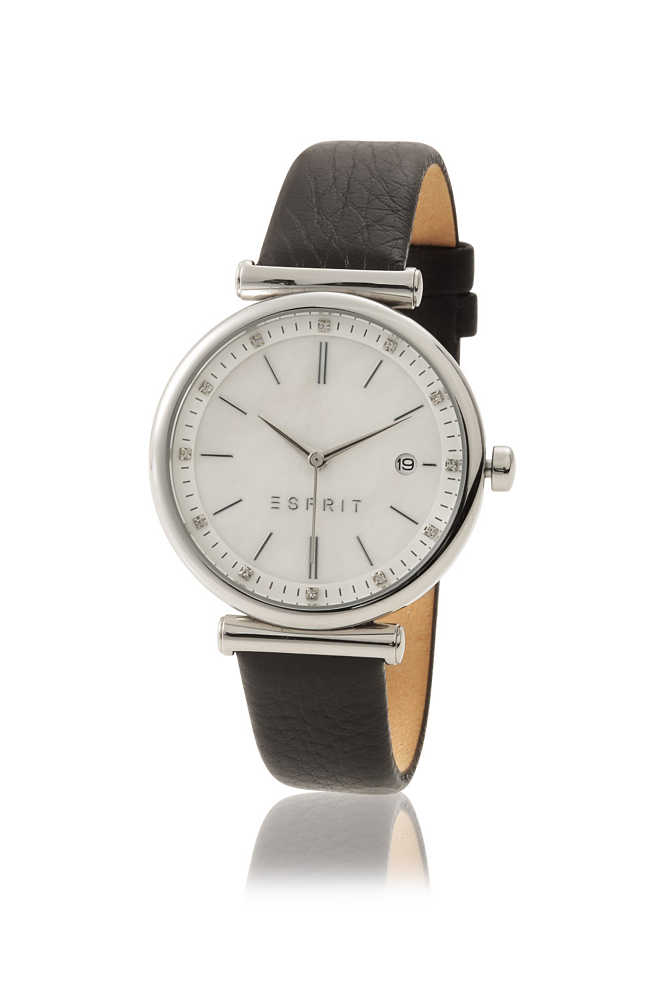 Esprit / stainless-steel watch + date + leather strap
