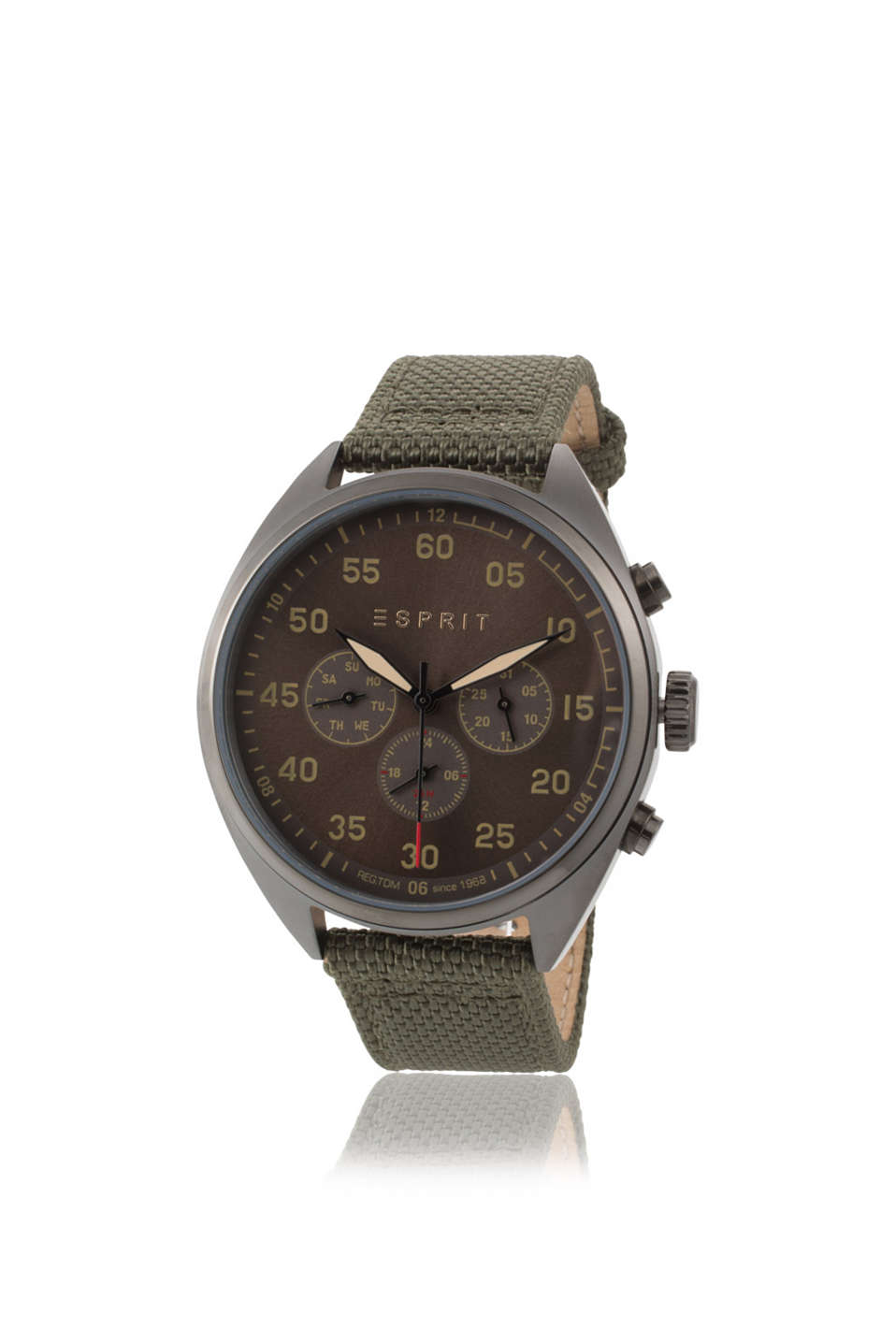 Dark stainless-steel chrono, olive green woven strap, day/date display, 24 hour + 2nd time zone, Ø approx. 43 mm